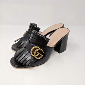 Gucci Black Marmont Block-heel Kiltie Sandals